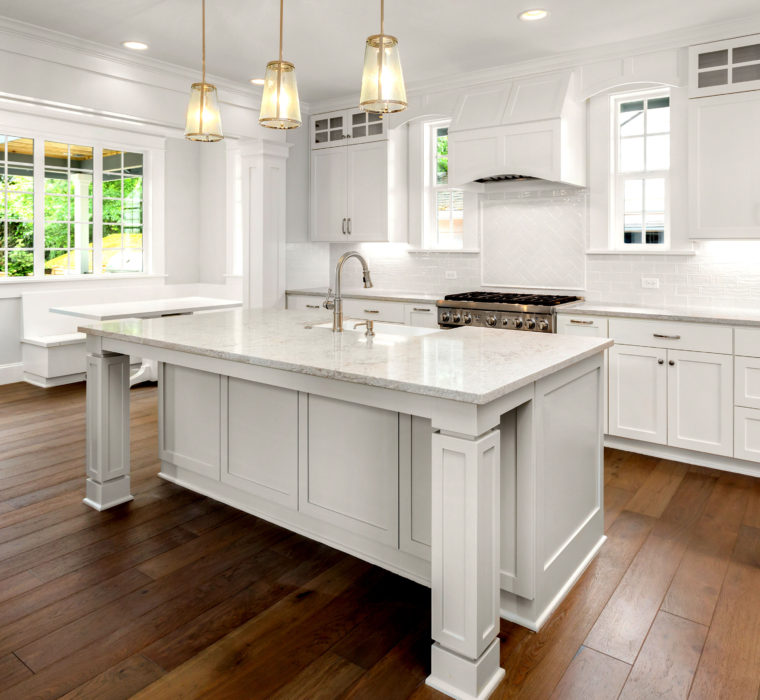 Beautiful White Kitchen in New Luxury Home with Hardwood Floors,